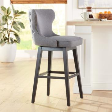 "Ariana 29 1/2"" Dark Gray Fabric Swivel Barstool"
