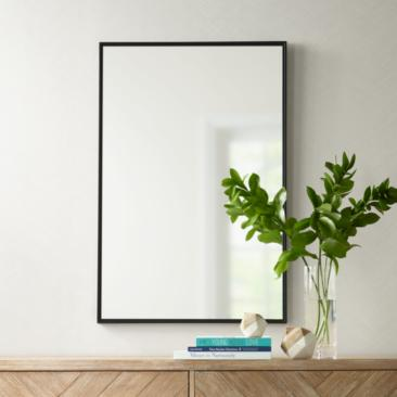 "Andrew Black 24"" x 36"" Rectangular Mirror"