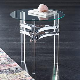 Serenity Gl Top And Clear Acrylic Round Accent Table