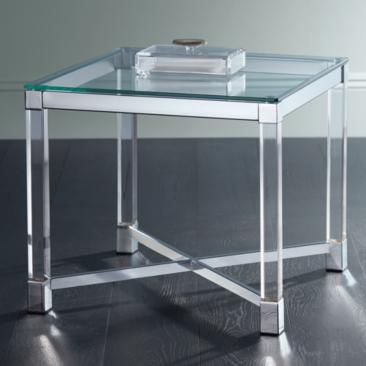 "Chrome and Clear Acrylic 22"" Square Modern Accent Table"