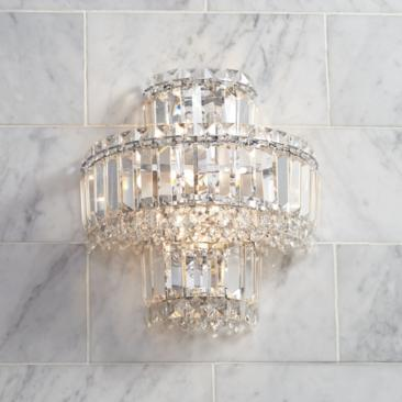 "Magnificence Chrome 12 1/2"" High Crystal Wall Sconce"