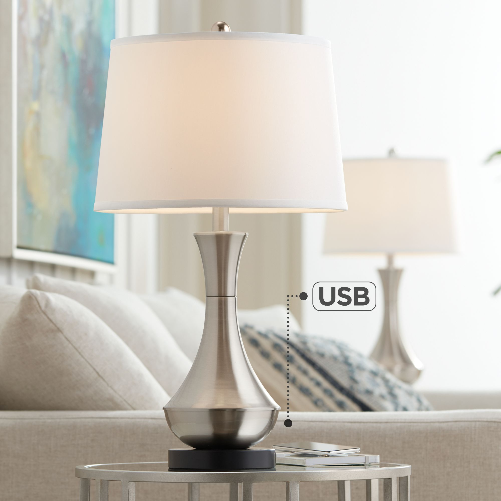 Simon Brushed Steel USB Table Lamp Set Of 2