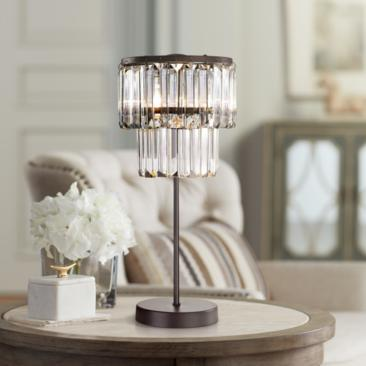 "Antoinette Bronze and Clear 18"" High Crystal Table Lamp"