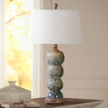 Uttermost Amelia Blue-Gray Textured Ceramic Table Lamp