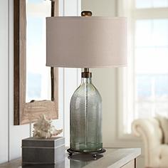 Uttermost Mana Olive Gray Seeded Gl Table Lamp