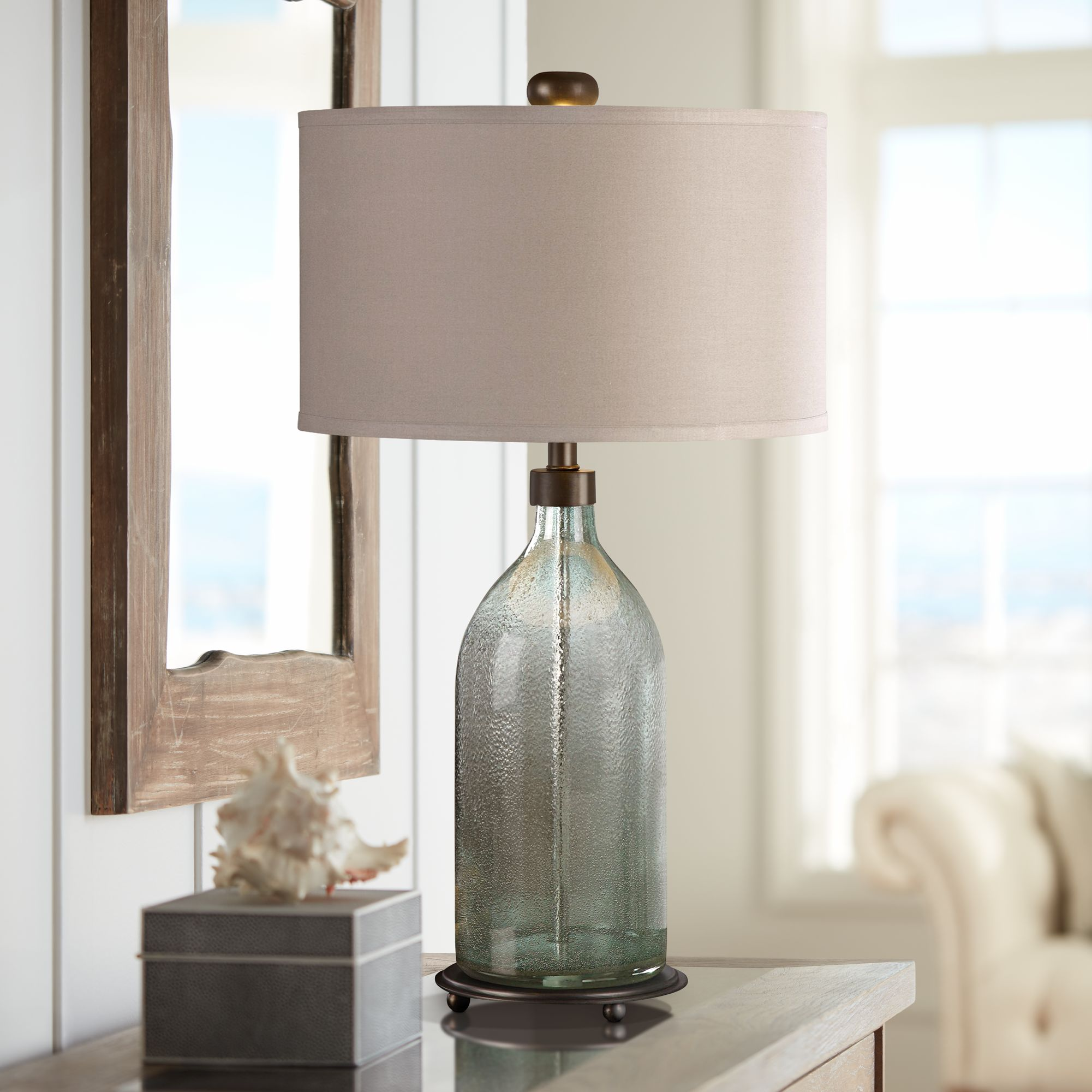 Attrayant Uttermost Massana Olive Gray Seeded Glass Table Lamp