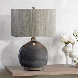 Catalina Lighting Catalina Lighting 19970-000 Modern Ceramic Table Lamp  with Burlap Shade for Living, Family Room, Bedroom, Dorm, Office, 26.5\