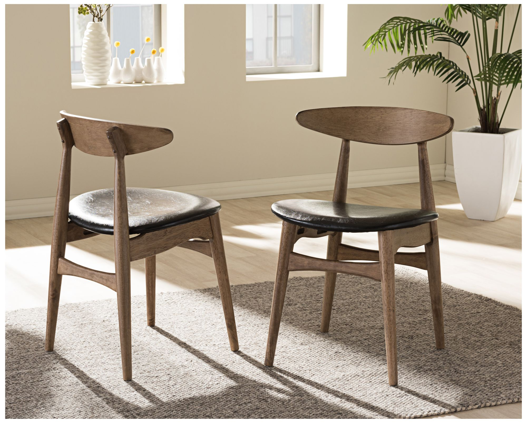 Baxton Studio Edna Black And Oak Wood Dining Chair Set Of 2