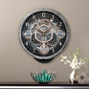 "Gadget Black 16 1/4"" High Gear Wall Clock"