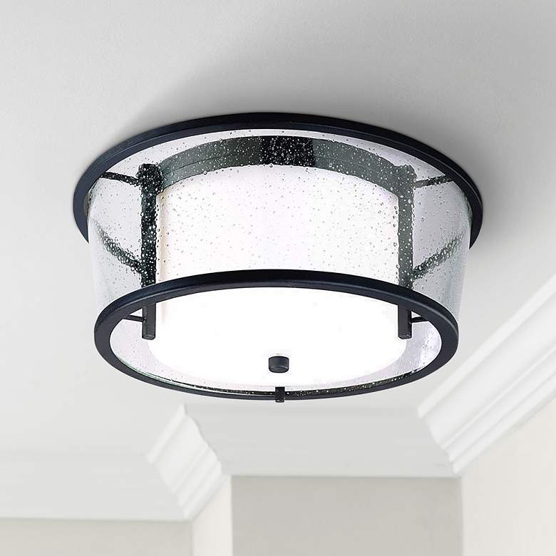 "Bennington Iron Bronze 15"" Wide Ceiling Fixture"