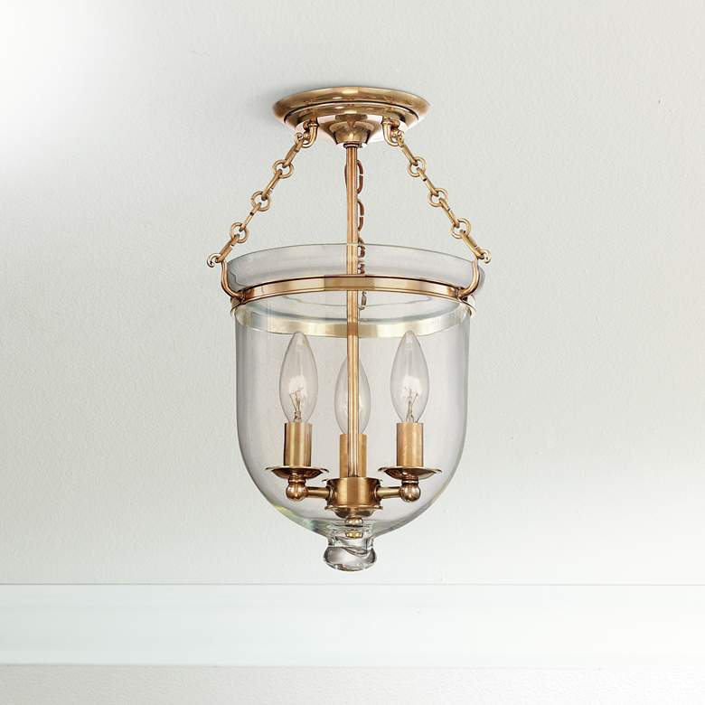 "Hampton 10 1/4"" Wide Aged Brass Clear Glass"