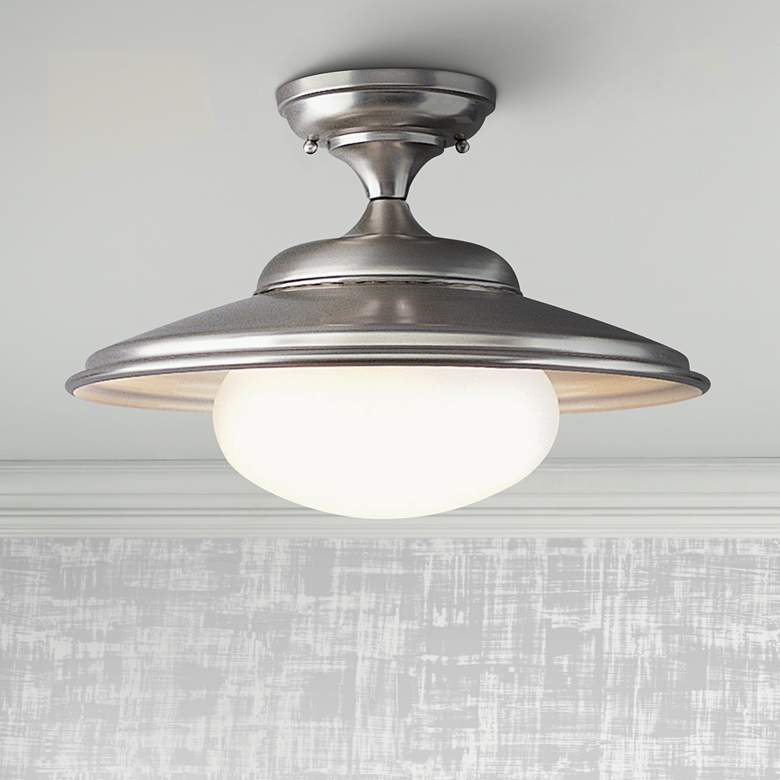 "Independence Collection 16"" Wide Satin Nickel Ceiling Light"