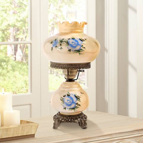 "Small Blue Rose 20"" High Night Light Hurricane Table Lamp"
