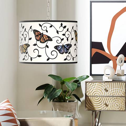 Swag Style Butterfly Scroll Shade Plug-In Chandelier