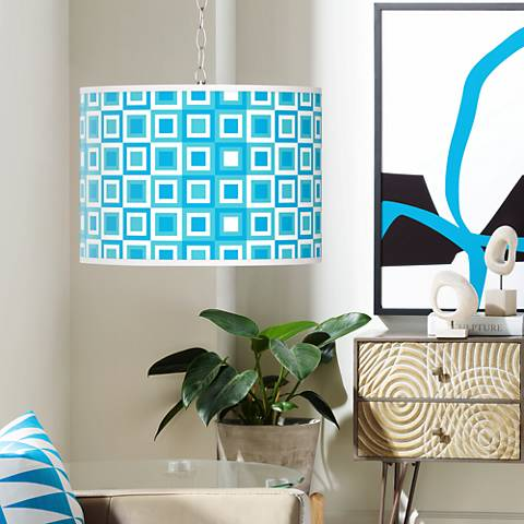 Blue Boxes Linen Giclee Plug-In Swag Chandelier