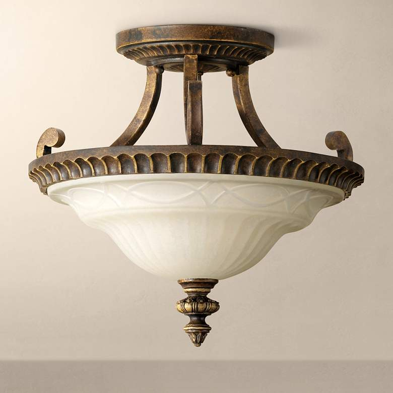 "Feiss Drawing Room 17"" Wide Semi-Flushmount Ceiling Fixture"