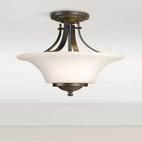 Feiss barrington 15 bronze semi flushmount ceiling fixture