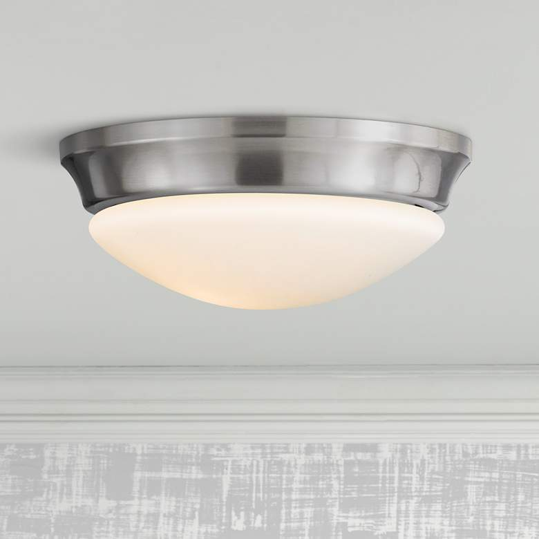 "Barrington 10"" Wide Steel Flushmount Button Ceiling Fixture"