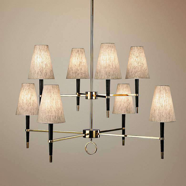 "Jonathan Adler Ventana 41 1/2""W Three-Tier Nickel Chandelier"