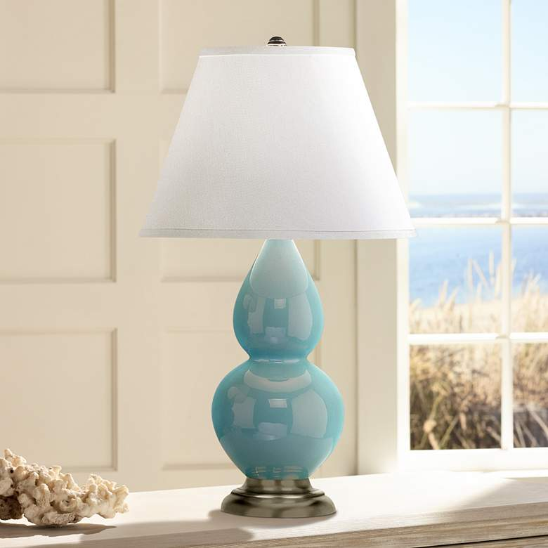 "Robert Abbey 22 3/4"" Egg Blue Ceramic and Silver Table Lamp"