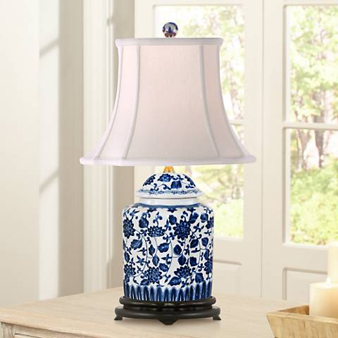 Blue and White Floral Scalloped Porcelain Tea Jar Table Lamp
