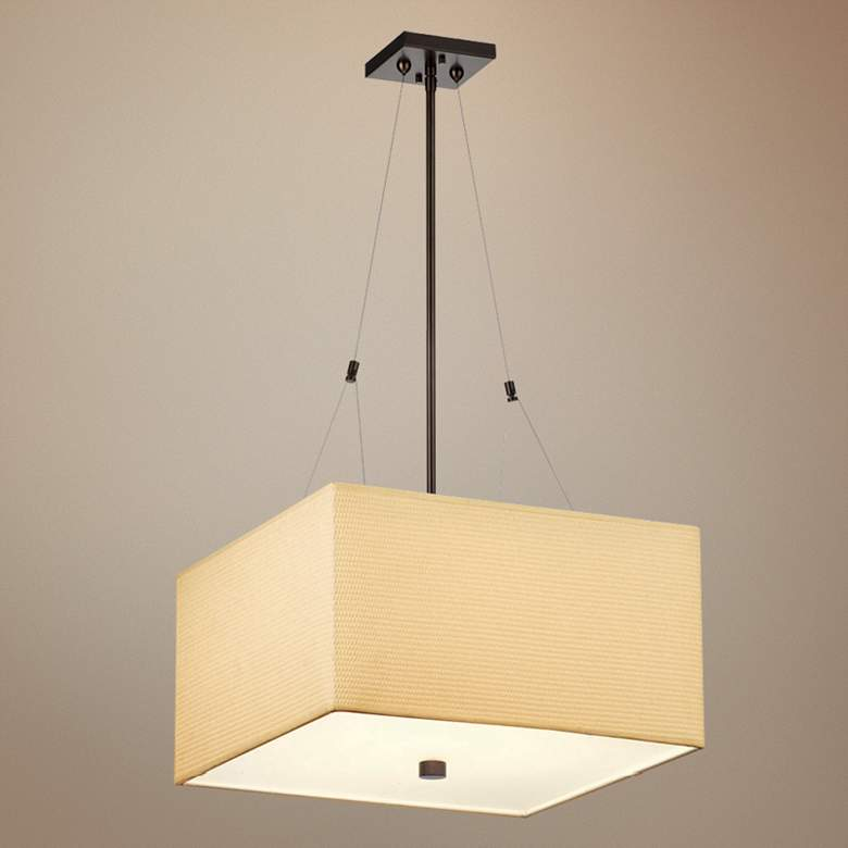 Forecast Alexis Bronze Three Light Square Pendant Chandelier