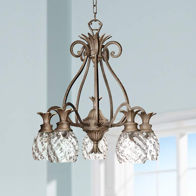 "Hinkley Plantation 22 1/2""W Pearl Bronze 5-Light Chandelier"