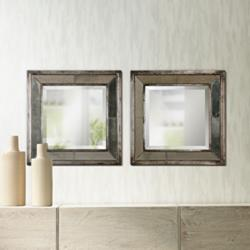 "Uttermost Davion Antiqued 18"" Square Wall Mirrors Set of 2"