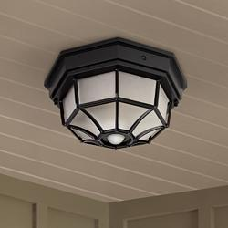 "Octagonal 12"" Wide Black Motion Sensor Outdoor Ceiling Light"