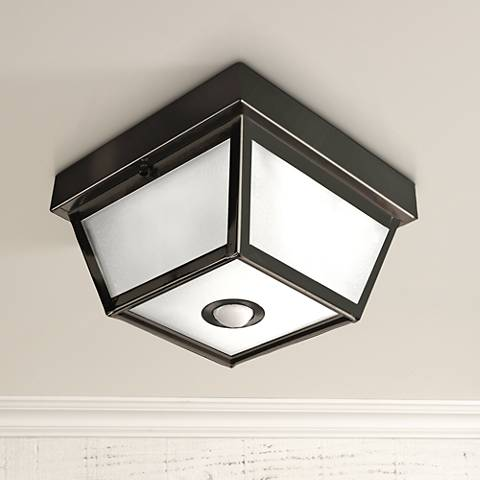 "Benson Black 9 1/2"" Wide Motion Sensor Outdoor Ceiling Light"