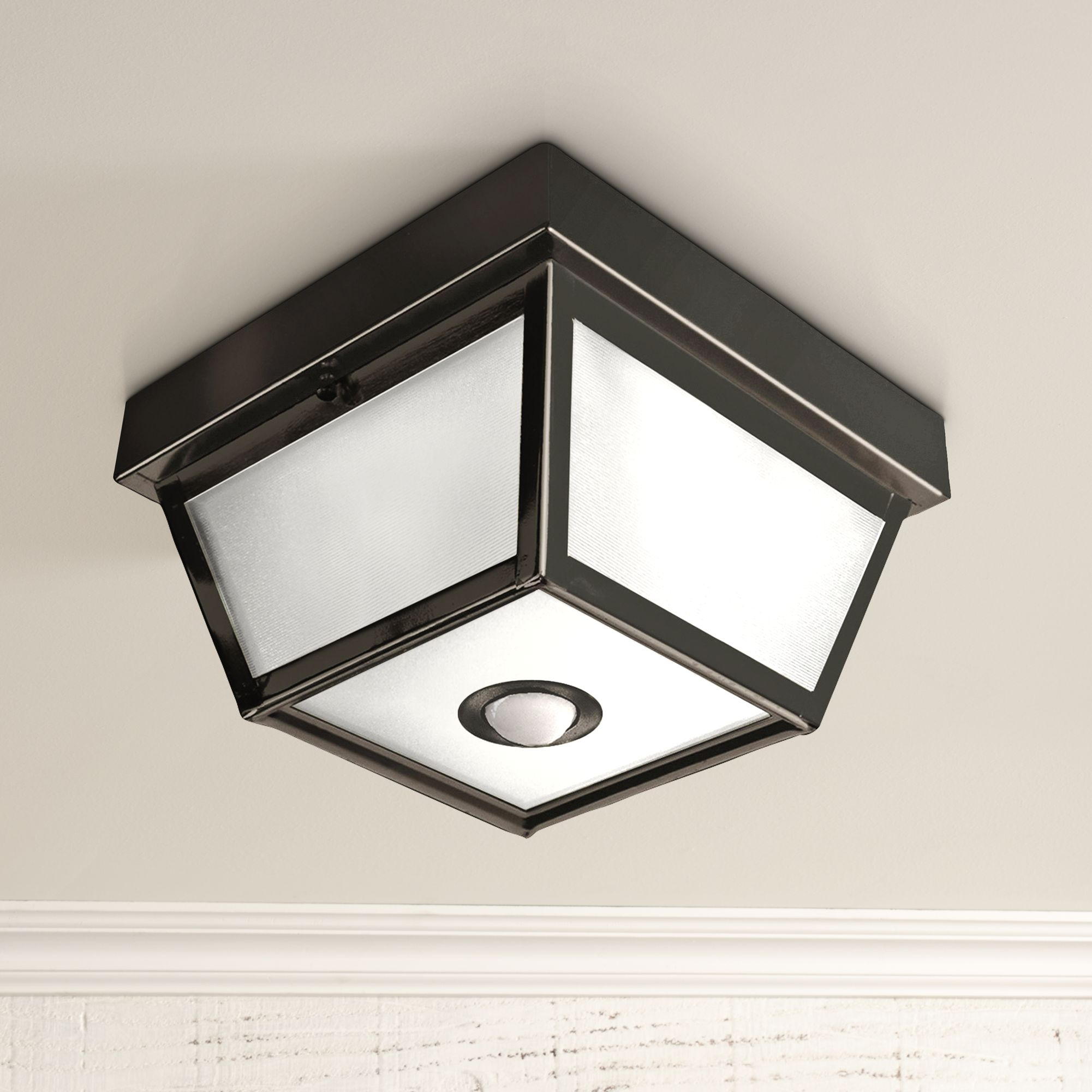 Benson Black 9 1/2  Wide Motion Sensor Outdoor Ceiling Light & Benson Black 9 1/2