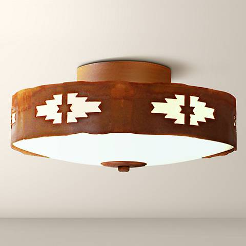 "Ridgewood Collection 12"" Wide Rust Ceiling Light"