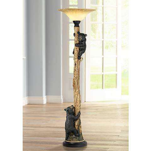 Climbing Bears Torchiere Floor Lamp