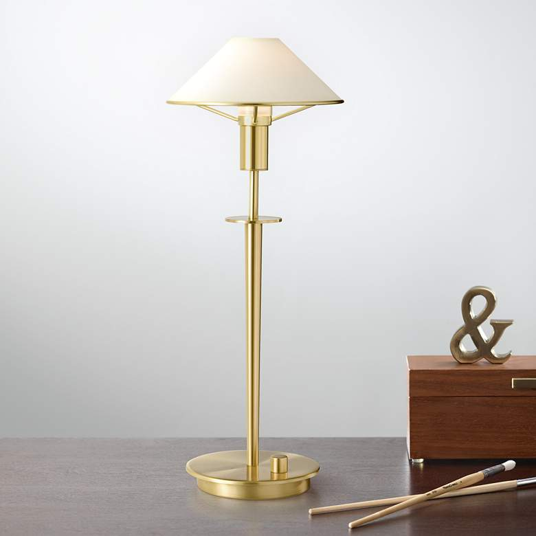 Holtkoetter Brushed Brass True White Glass Desk Lamp