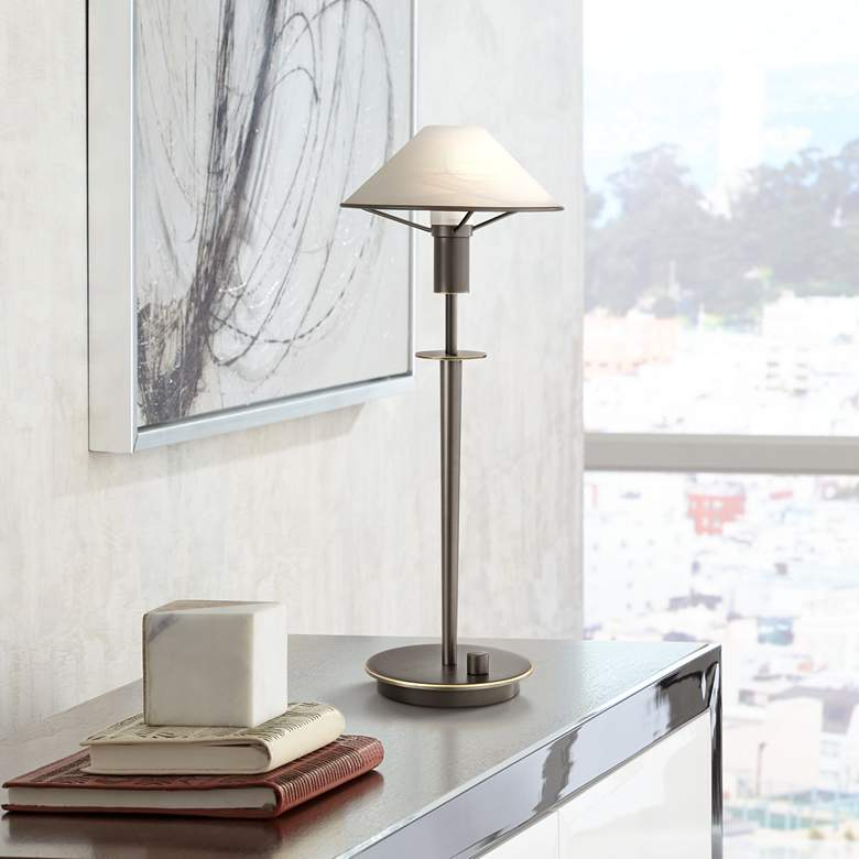 Holtkoetter Old Bronze Brass Alabaster White Glass Desk Lamp