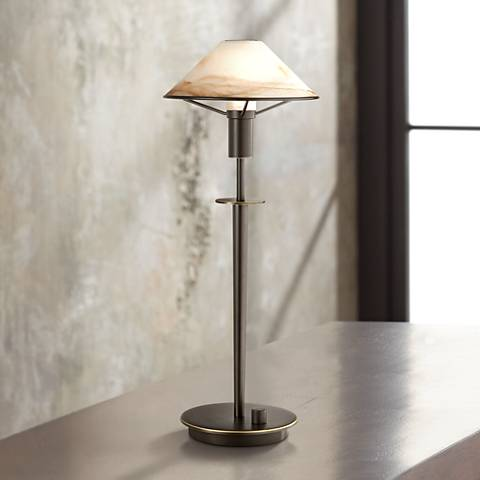 Holtkoetter 18 1/2H Old Bronze Brass and Alabaster Desk Lamp
