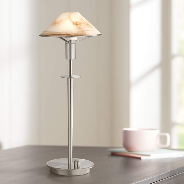 Holtkoetter Satin Nickel Alabaster Brown Gl Desk Lamp