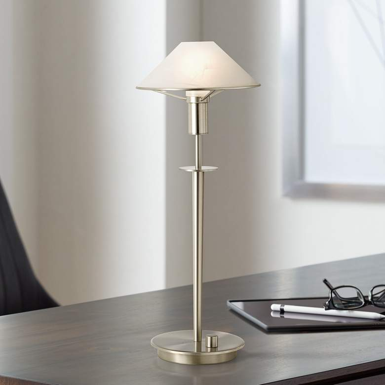 Holtkoetter Satin Nickel Alabaster White Gl Desk Lamp
