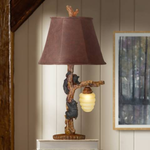 Honey Bear Accent Table Lamp With Night Light J1786