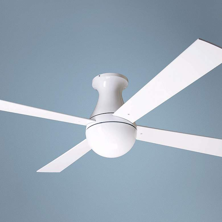 "52"" Modern Fan Ball Gloss White Hugger Ceiling Fan"