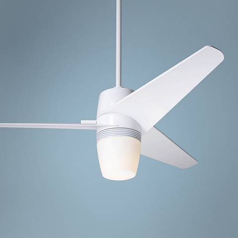 "48"" Modern Fan Velo Gloss White Ceiling Fan with Light Kit"