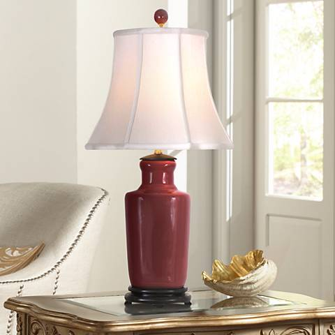 Oxblood Red Porcelain Slim Vase Table Lamp