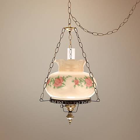 "Red Rose with Amber Glaze 17"" Wide Plug-in Swag Chandelier"