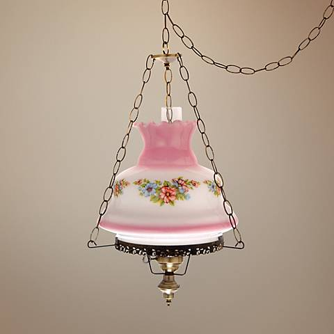 "Blue Floral Pink Glass 17"" Wide Plug-In Swag Chandelier"