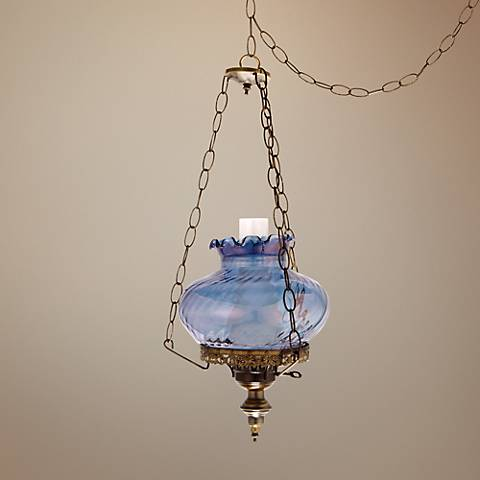 "Blue Amber Swirl Student 13"" Wide Plug-in Swag Chandelier"