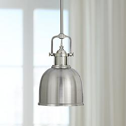"Parker Place Solid Brushed Steel 8"" Wide Mini Pendant  Light"