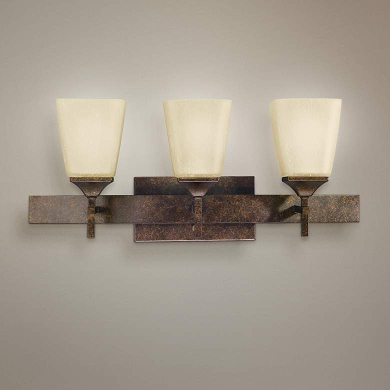 "Marbled Bronze Finish 3-Light 23 1/2"" Wide Bath Light"