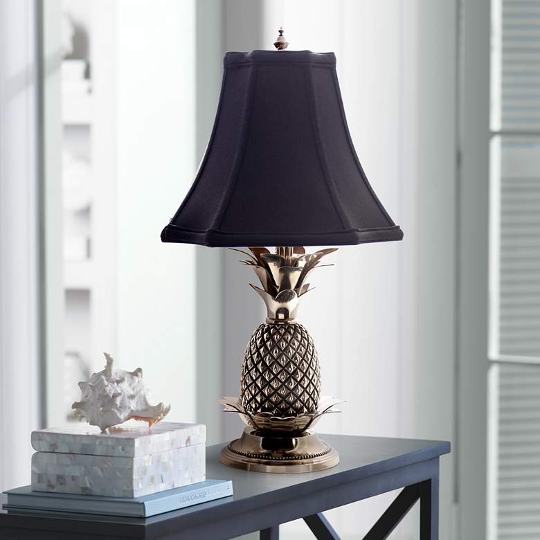 Tropical Pewter Black Shade Pineapple Table Lamp J8862