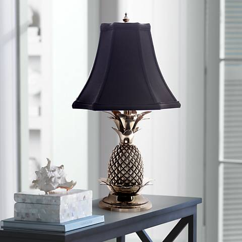Tropical Pewter Black Shade Pineapple Table Lamp