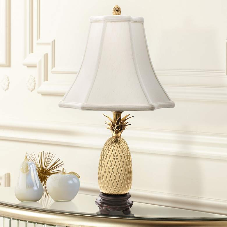 "Tropic Pineapple Brass 20"" High Table Lamp with White Shade"